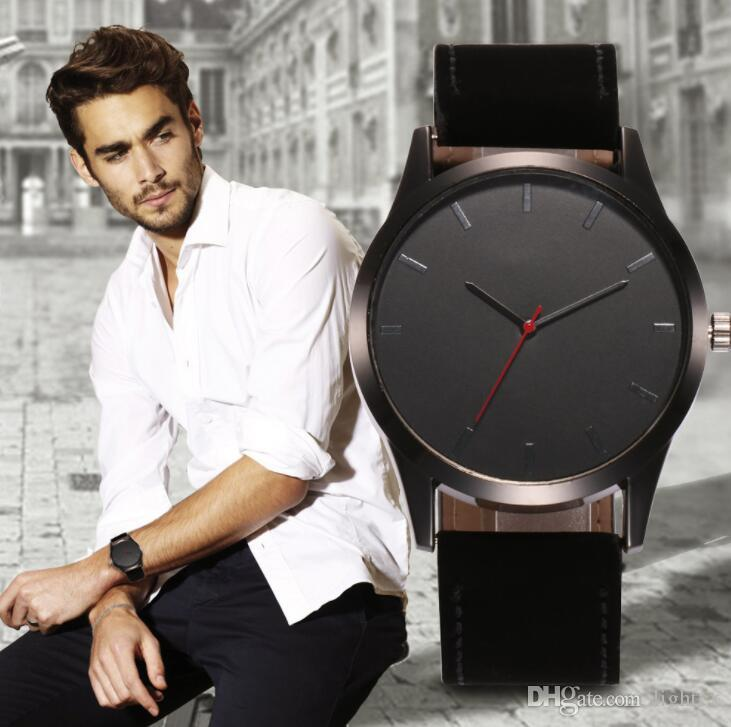 Herrenuhren Top-Marke Luxus Herren Military Sport Armbanduhr Leder Casual erkek saat Militär Quarzuhr