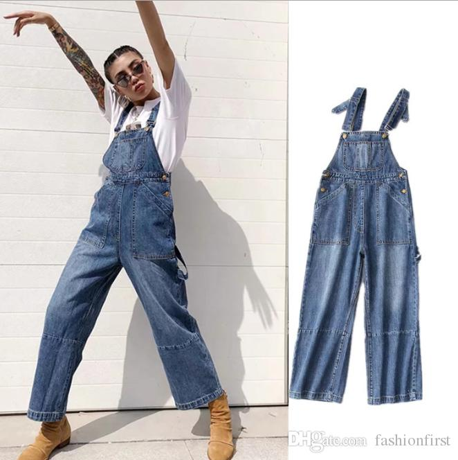 Sonbahar Kış Giyim Gevşek Tulum Bağbozumu 90'lı Mavi Denim Jean Grunge Önlüğü Genel Pantolon Tulum Yüksek Waisted Denim tulum
