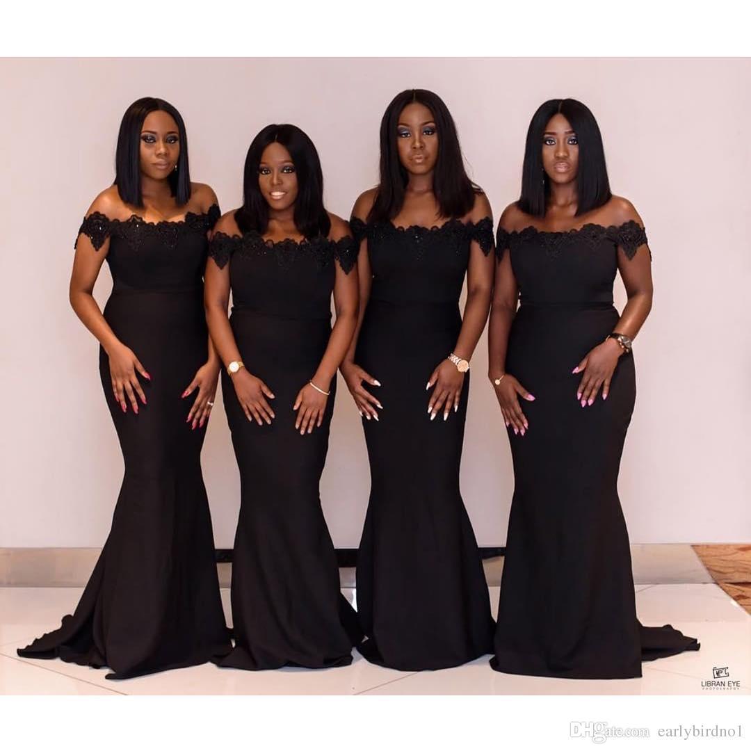 Yeni Zarif Kapalı Omuz Siyah Mermaid Gelinlik Modelleri Dantel Aplike Kısa Kollu Arapça Afrika Hizmetçi Onur Törenlerinde Ucuz