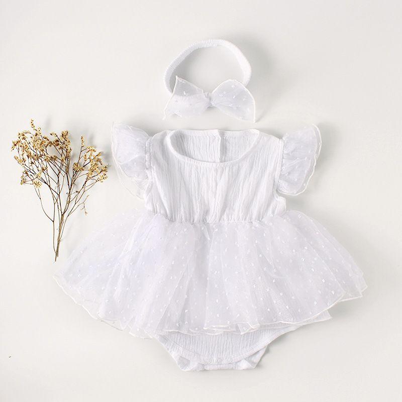 Yeni Yaz Kızlar Romper Yenidoğan Beyaz Yumuşak Pamuk Kelebek Kollu Tutu Jumpsuit Çocuk Moda Tek Parça Suit