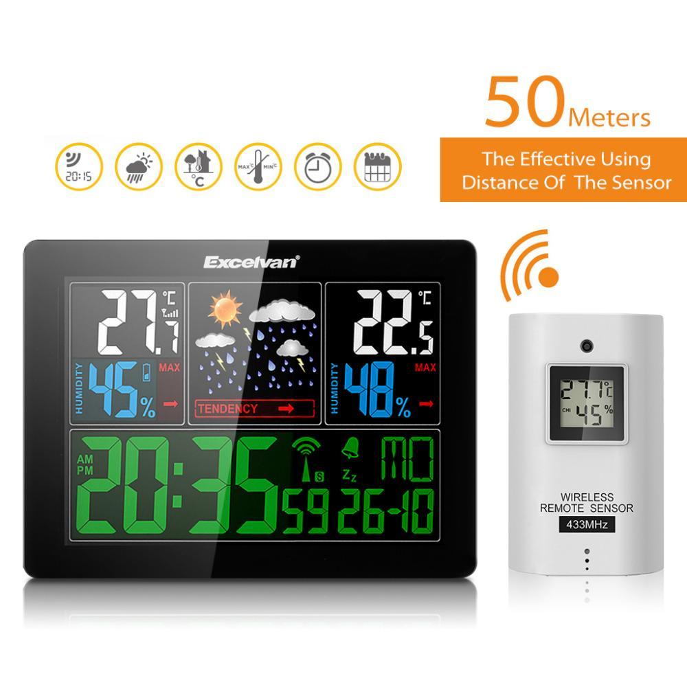 예측 온도 습도 EU 플러그 알람 및 스누즈 온도계 습도계 시계와 Excelvan 컬러 무선 기상 방송국