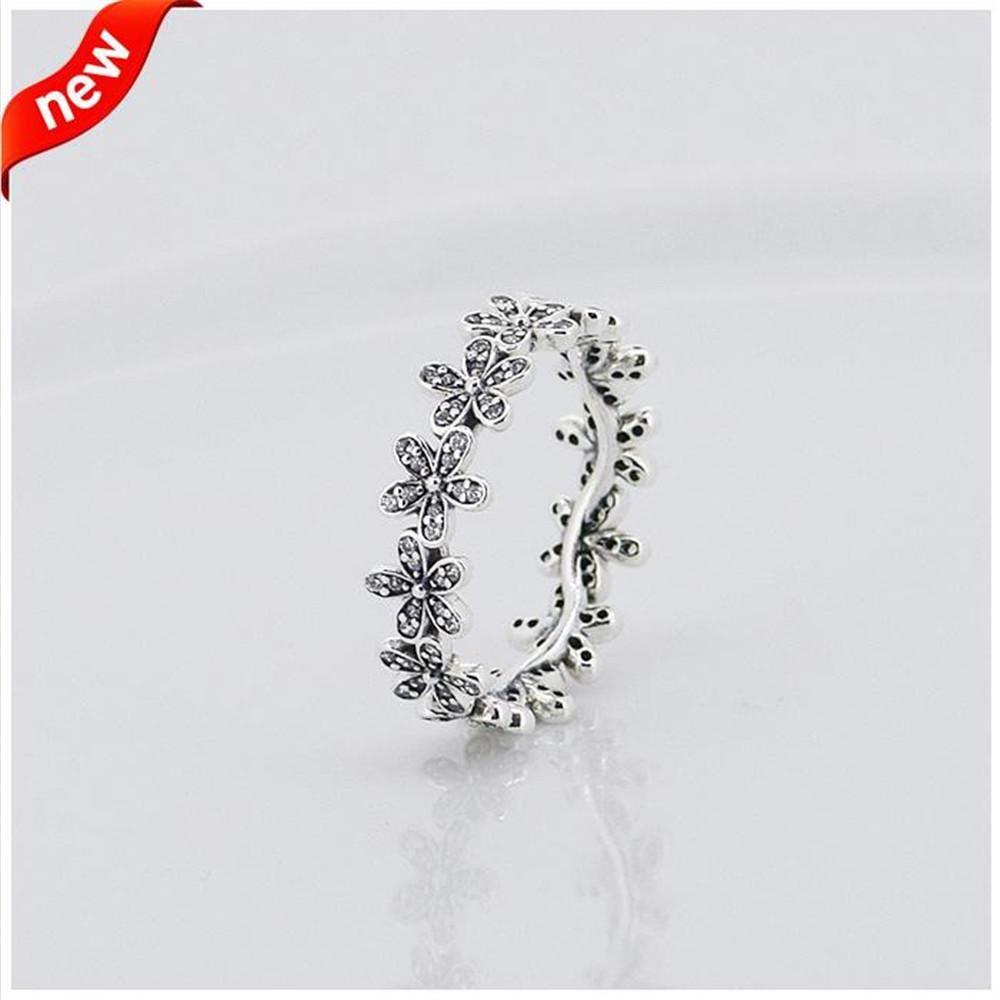 متوافق مع باندورا المجوهرات الدائري ديزي خواتم الفضة مع الزركون مكعب 100٪ 925 فضة مجوهرات بالجملة diy KKA1951
