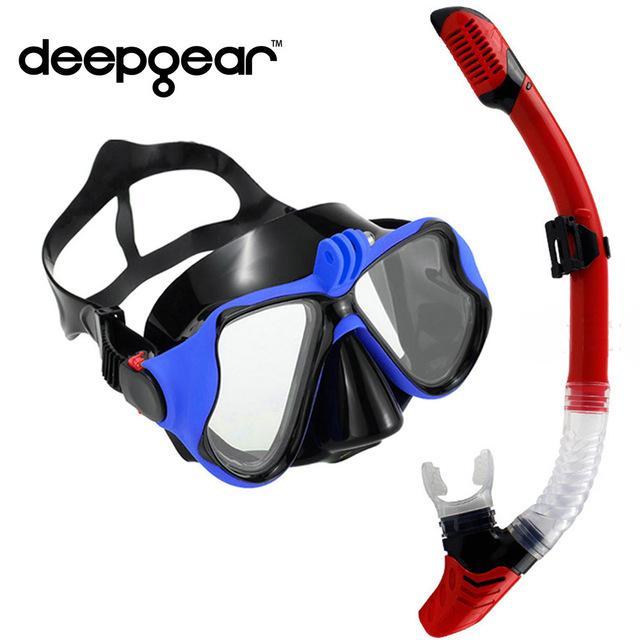 Sport acquatici Scuba Diving maschera e boccaglio Set temperato Lens Gopro fotocamera maschera subacquea Dry Top Snorkel Gears calda per sport Gears