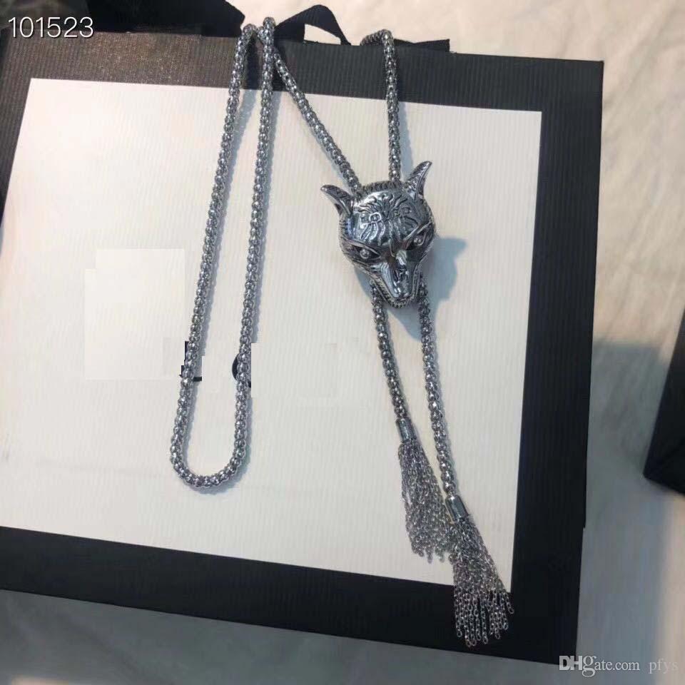 Tier Vintage Halskette Wolf Kopf Sterling Silber Vintage Halskette