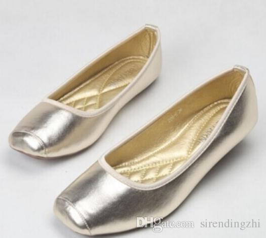 Envío gratis 2018 primavera Nuevo oro plata Boca poco profunda Cabeza cuadrada fondo plano mujeres Zapatos individuales