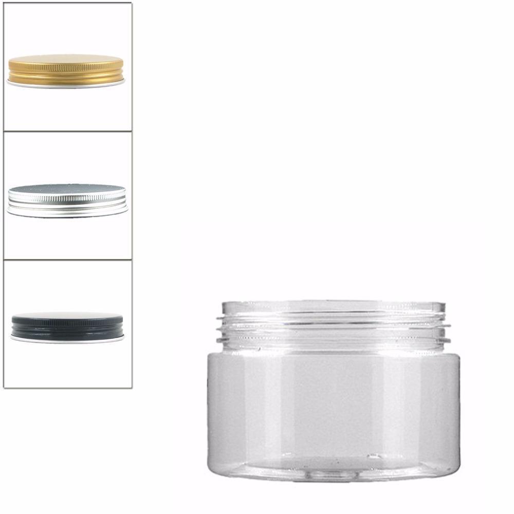 18 pçs / lote 100 ml claro pet jar com tampa de alumínio, frasco de plástico, frasco cosmético, recipiente de plástico, garrafa