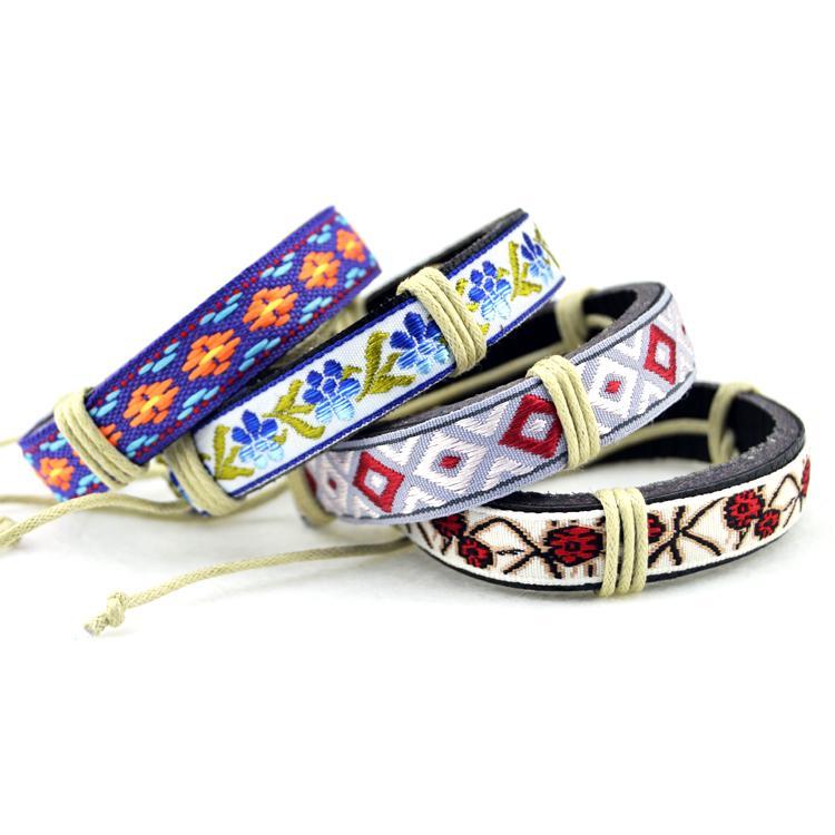 نمط العرقية المرأة الاكسسوارات والجلود سوار السيدات الرجال المجوهرات المصنوعة يدويا الأصلي الجملة # EZ220