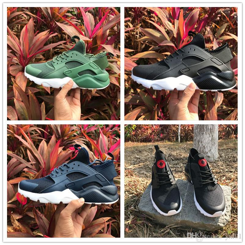 2018 Cheap Huarache Ultra Running Shoes for Black White Navy Blue Army Green Huraches Trainers Men's Outdoors Air Sports Sneakers Size 40-45