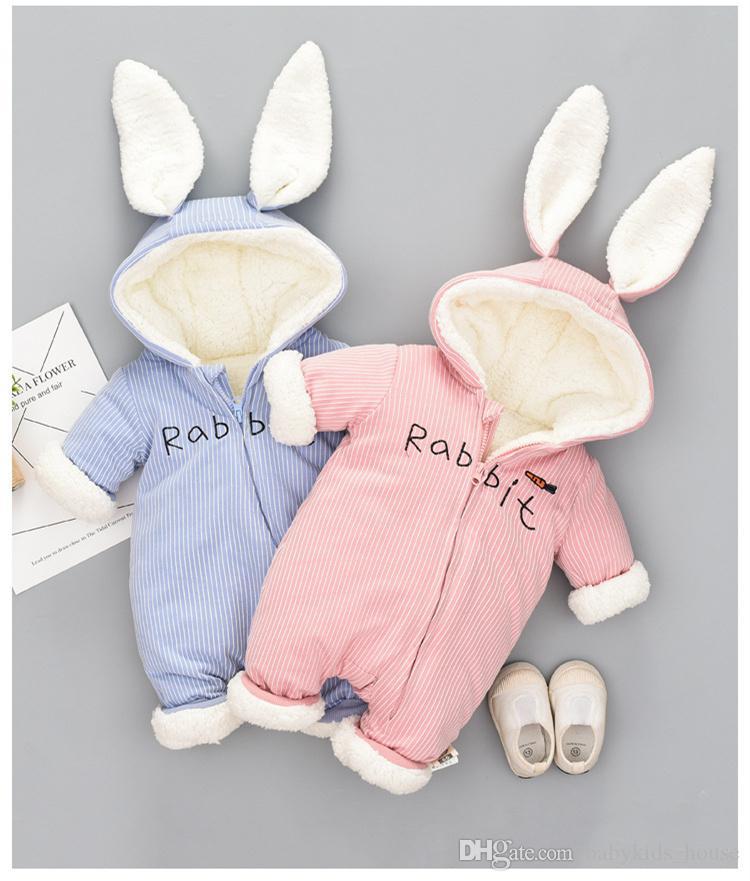 لطيف الأرنب الصوف المخملية ملابس الرضع الشتاء طفل الفتيات الفتيان السروال القصير الدافئة مولود جديد ملابس الطفل الوليد بذلة الثلوج