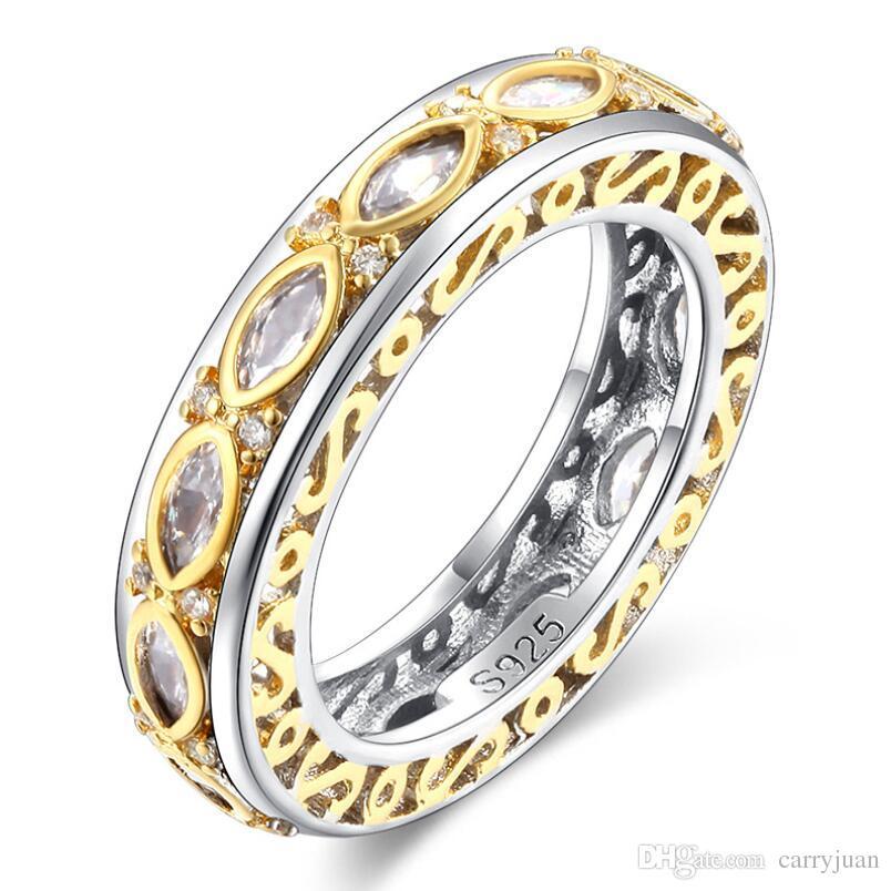 Size5-10Handmade Vintage Jewelry 925 sterling silver Horse Eye stripe bianco topazio di cristallo donne Wedding Engagment Band Ring per il regalo degli amanti