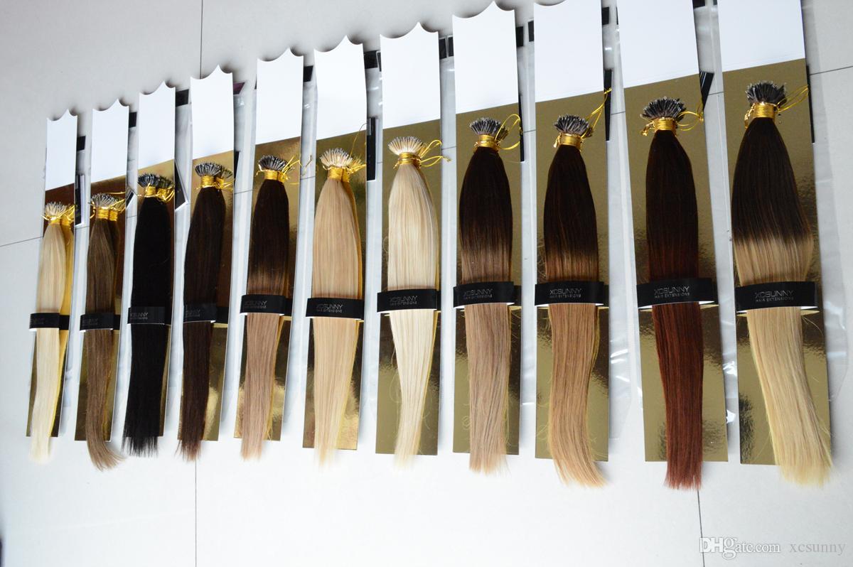 XCSUNNY 6A Peruanische Haarverlängerung Nano Ring Menschenhaar 1g / paket 100g Ombre Menschenhaarverlängerungen
