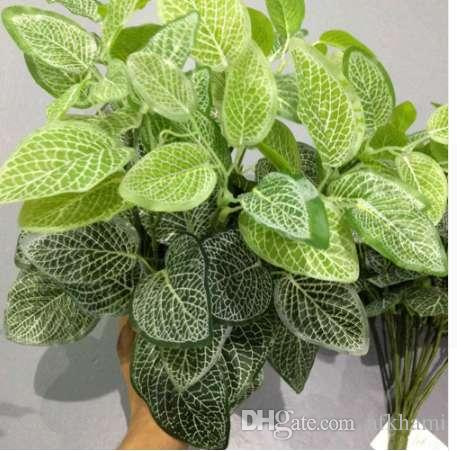 Home Garden Decoration 7 Forks Net Leaf Artificial Plants Green Grass Tress Silk Fake Flowers Simulation Plant Wall Material