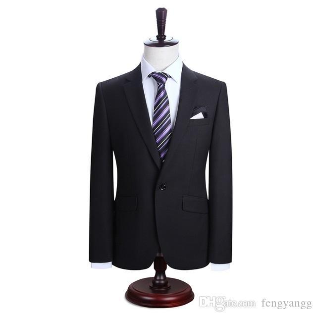 الأعمال السوداء عارضة زر واحد 2 قطعة (سترة + بنطلون) الرجال الدعاوى حقق طوق تريم صالح الدعاوى لحفل زفاف عشاء البدلات الرسمية