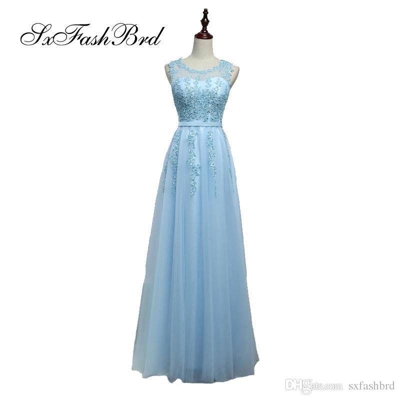 Abito elegante sexy O collo con applicazioni di tulle lungo partito abiti da sera formale abiti per le donne Prom