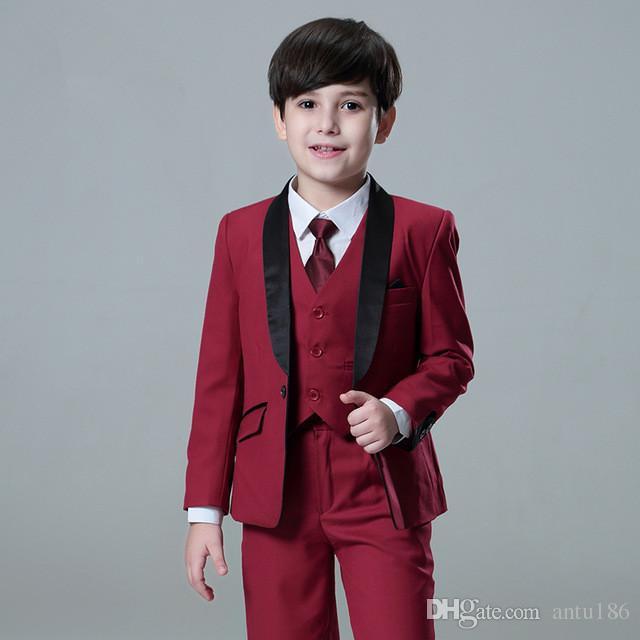 Новый мальчик костюм дети мода джентльмен вино красный костюм Костюм из трех частей костюм (куртка + брюки + жилет) мальчик выпускной церемония вечернее платье