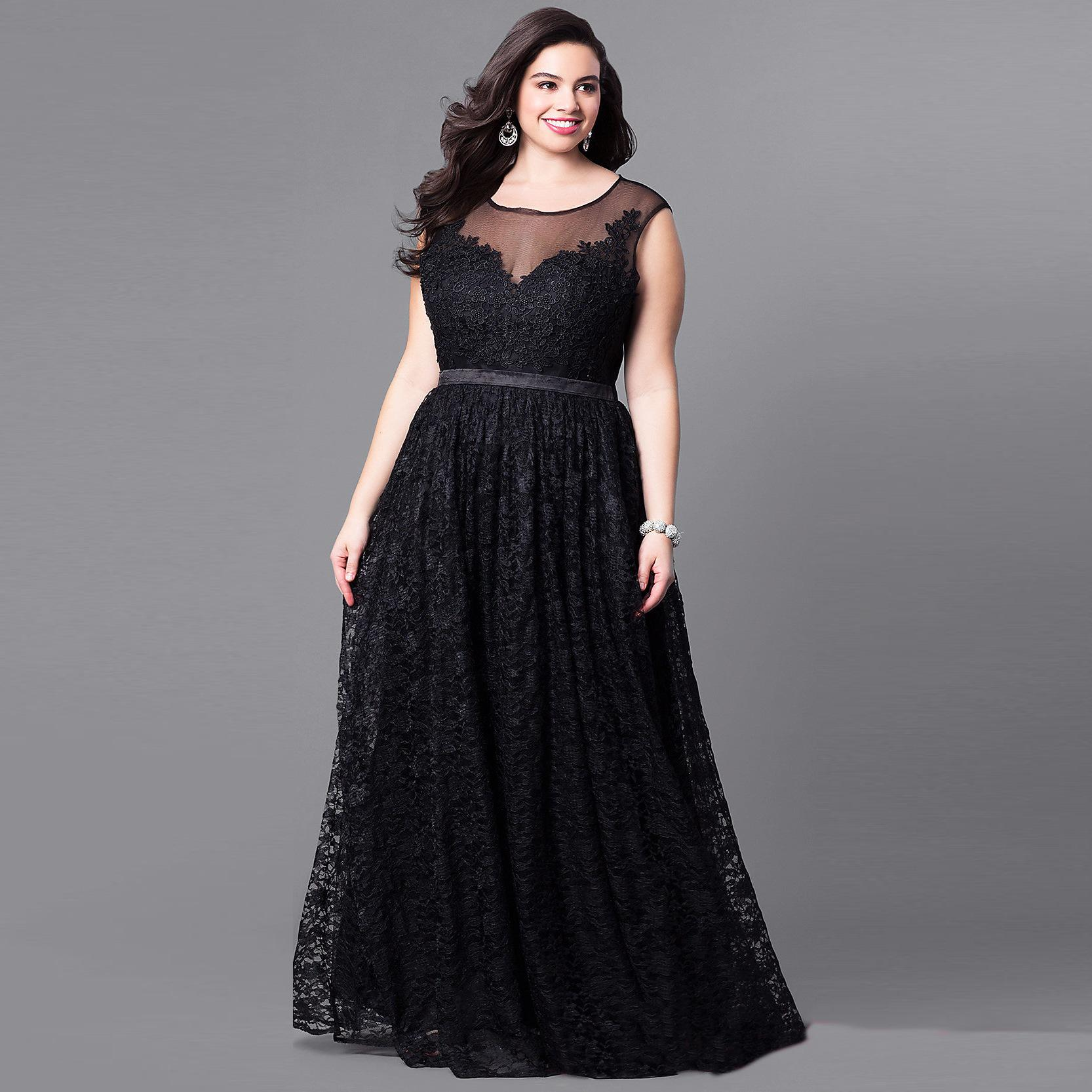 6270bbd0791ce Plus Size Woman Vintage Dress Black Sleeveless Long Evening Gown 2018 Big  Size Hollow Out Maxi Lace Mesh Vestidos Elegant AF626 Plus Size Maxi Dress  ...