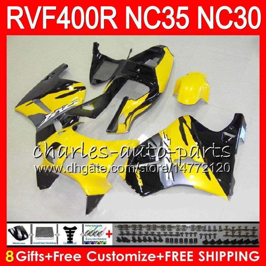 RVF400R für HONDA VFR400 R NC30 V4 VFR400R 89 90 91 92 93 82HM.17 Gelb schwarz RVF VFR 400 R NC35 VFR 400R 1989 1990 1991 1992 1993 Fairings
