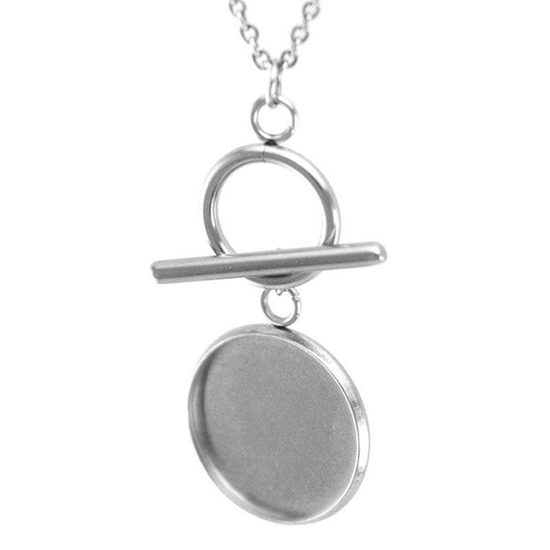 Women Stainless Steel Cabochon Base Tray Disc Pendant Personalized Fob Necklace Lobster Clasp Rolo Chain Necklaces 10pcs