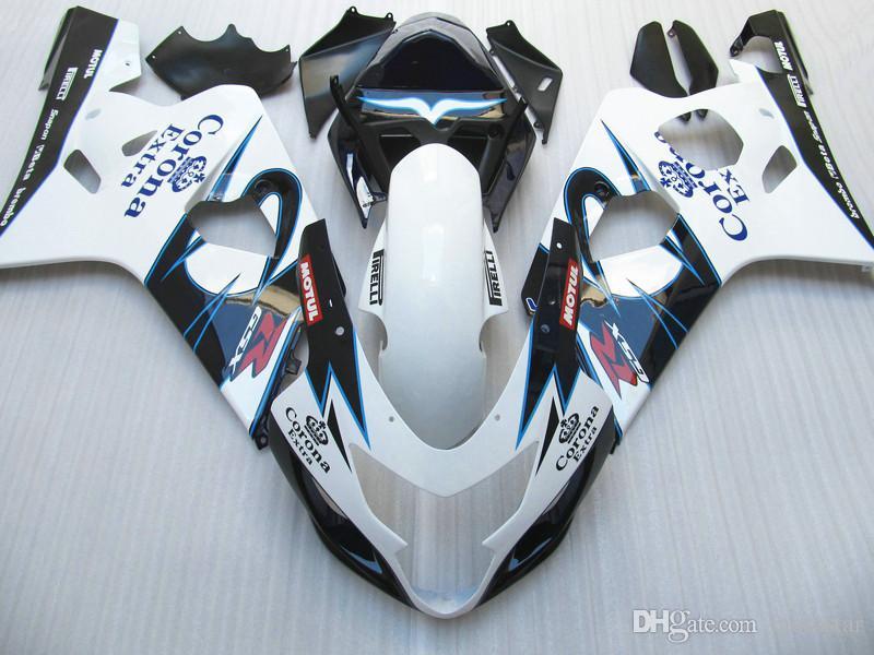 Kit de orientación de alto grado para SUZUKI GSXR600 GSXR750 04 05 K4 mercado de accesorios GSX-R600 / 750 2004 2005 carenados de blanco negro RT69