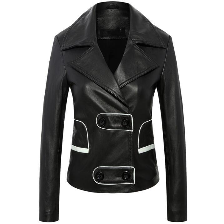 2018 Yeni Marka Kadınlar Siyah Hakiki Deri Ceket Kadın Yaka Moda Giyim Yüksek kalite artı boyutu koyun Ceket XS-4XL