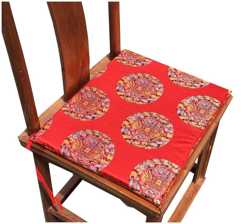 Coussin de siège chinois haut de gamme Happy Fancy pour chaise à la maison Coussins décoratifs Fauteuil de coussin Classic Silk Brocade à dossier rond