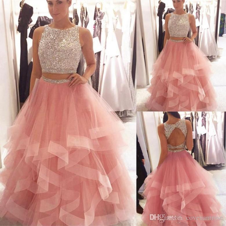 Exquisite Sequined Prom Dresses Beaded Organza Ruffles Pink Crystals Bodice Long Evening Gowns Two Piece Party Dress