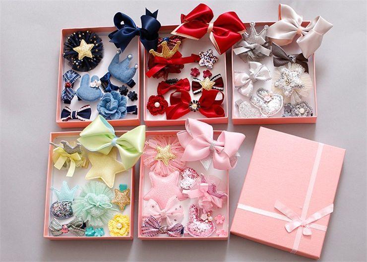 10 Pieces Korean Children's Hair Accessories Set Baby Hairpin Trinkets Barrettes Wholesale Handmade Powder Crystal Multicolor