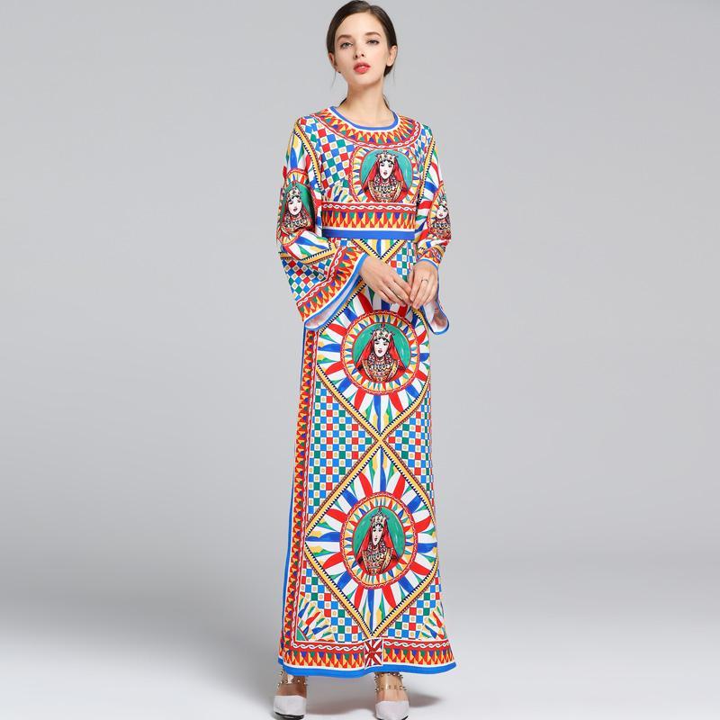 Neue Ankunft 2018 Frauen O Neck Long Sleeves Vintage Printed Side Split Mode High Street Runway Kleider