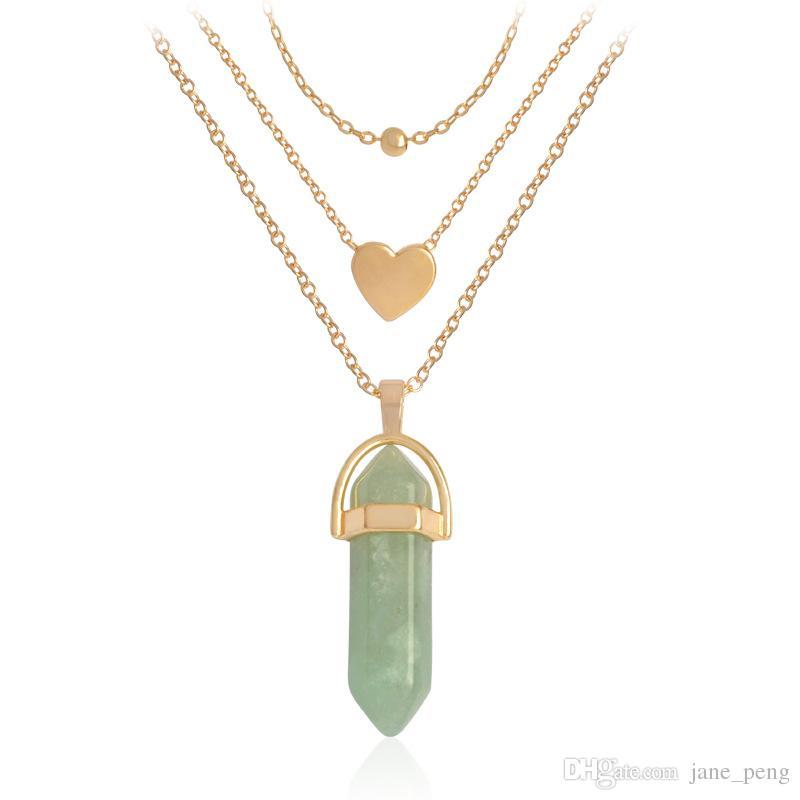 Piedra Natural Colgante de Cristal Collares Para Las Mujeres de Tres capas Bullet Head Collar Hexagonal Cadenas de Oro de Cuarzo Collar de Moda Conjunto Regalo
