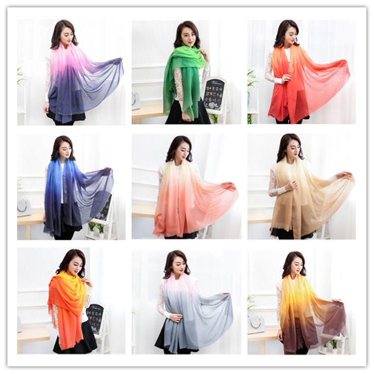 Mujeres de la manera gradiente bufanda de seda bufandas suave elegante abrigo largo señoras impresas bufanda del mantón Femme bufanda