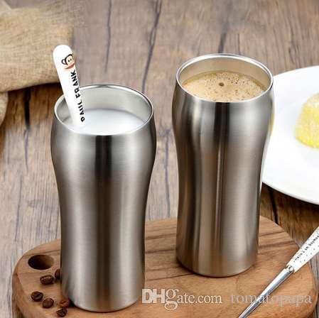 Humanizado Aperto de Mão Copo de Vinho de Design de Aço Inoxidável 304 xícara de Café Camada Dupla Isolamento Quente Xícara de Chá Crianças Beber 420 ml