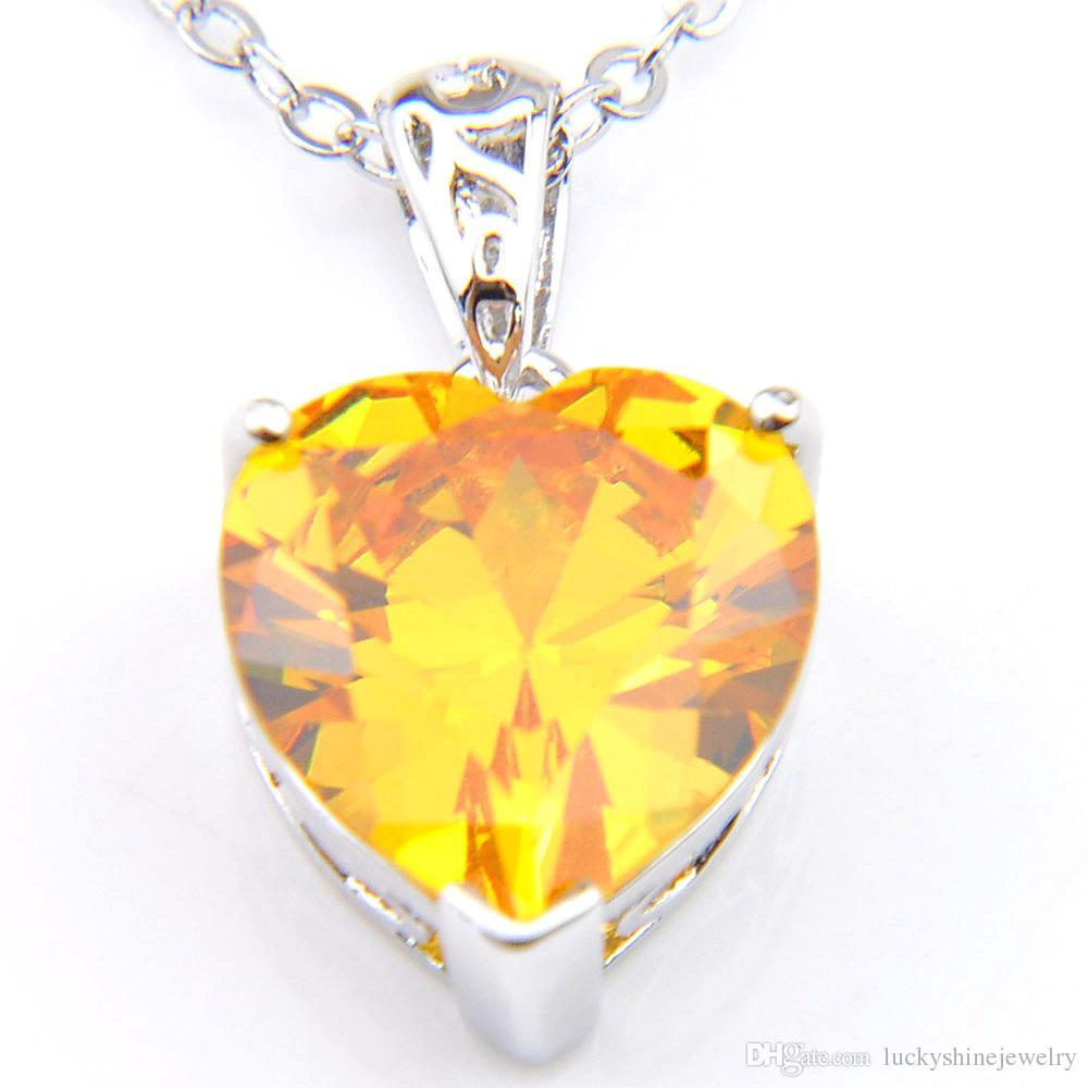 10 Unids Luckyshine Regalo de Navidad En Forma de Corazón de Cristal Amarillo Cubic Zirconia Piedra Preciosa 925 Colgantes de Plata Collares Señora Party Colgantes