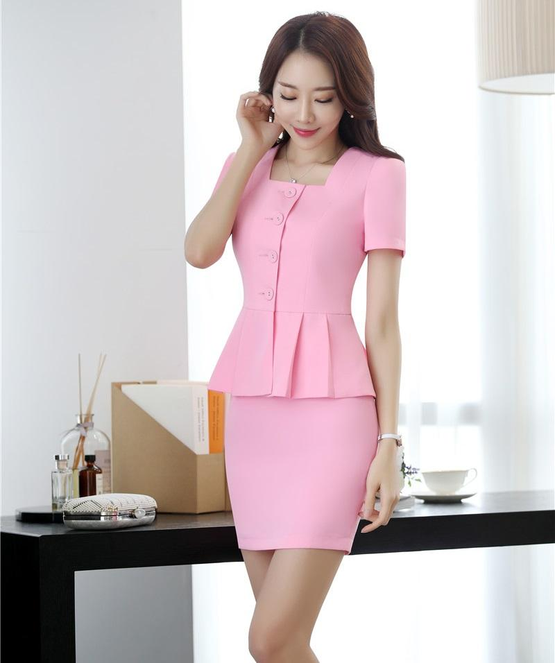 New Style 2018 Women Business Suits 2 Piece Skirt and Top Sets Pink Jacket Short Sleeve Office Ladies Work Wear Uniforms