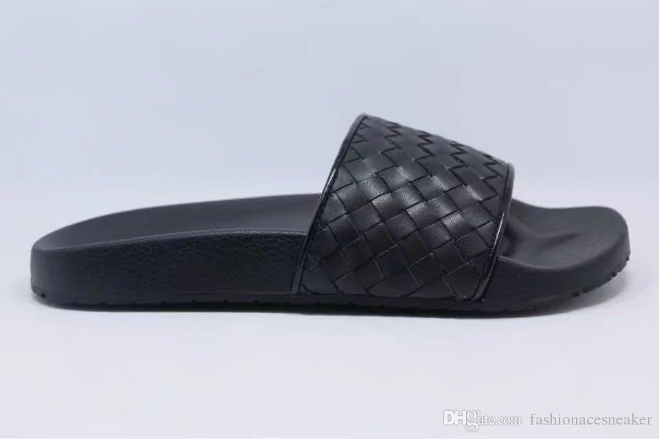 designer di moda di lusso 2018 scarpe da uomo di marca pantofole di design sandali gladiatore Straw infradito di lusso sandali rosa Tessitura