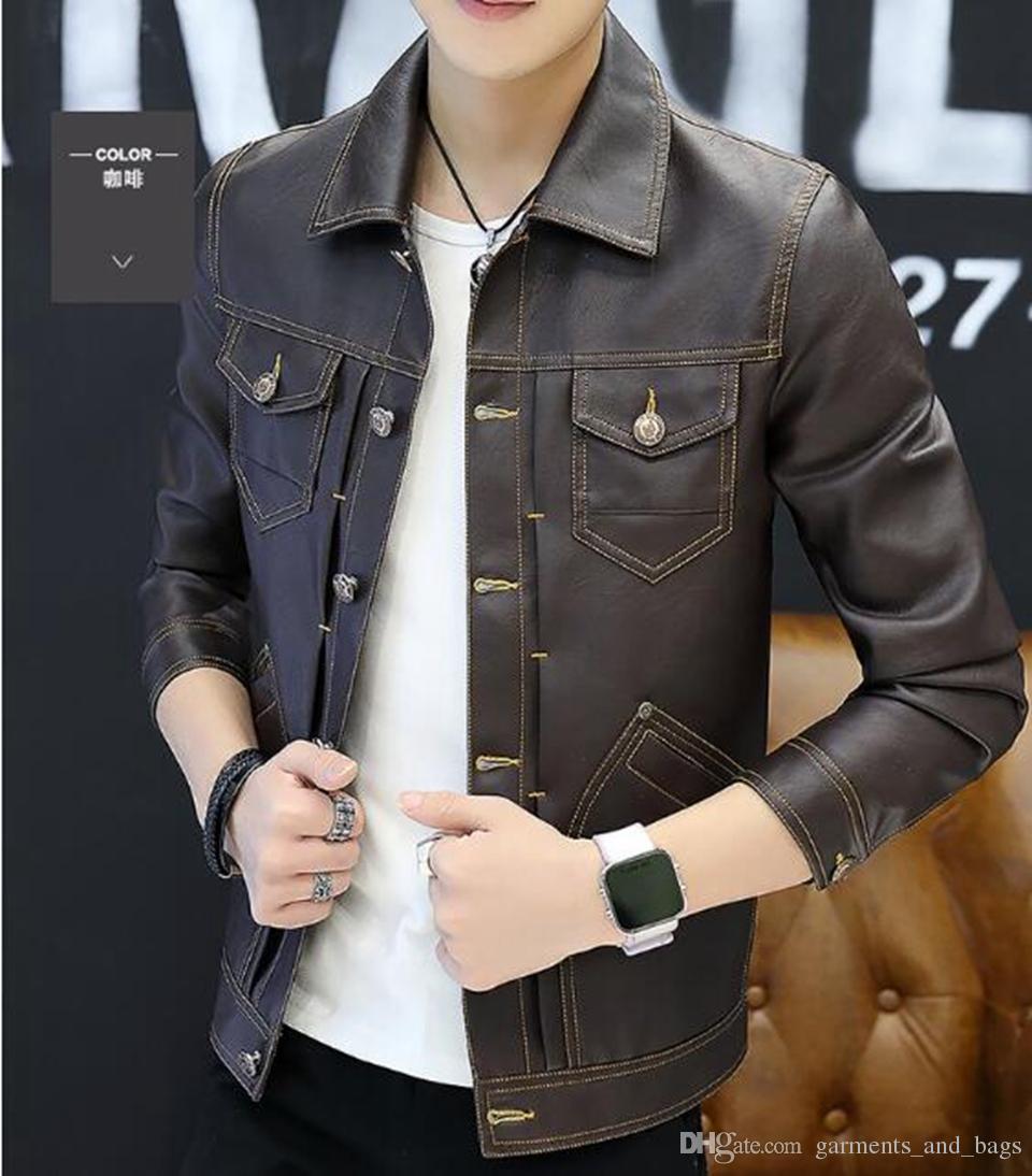 Queda dos homens europeus da moda Americana estilo Coreano xiushen Britânico boutique de lazer lapela único breasted juventude jaqueta de pele M-3xl