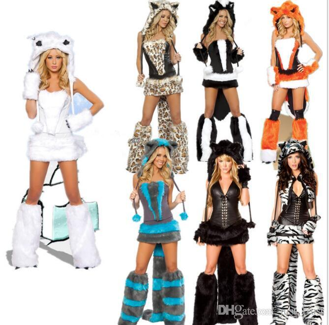 New sales Sexy Animal Costumes For Halloween Uniform Women Sexy Costume cat big tails leopard Party Dance Cosplay