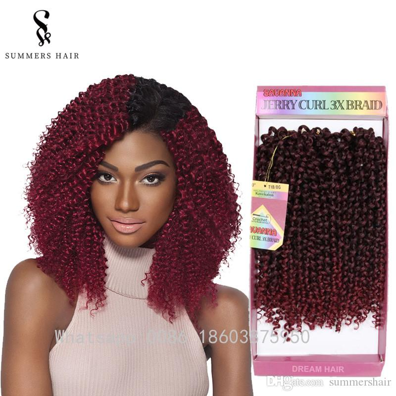 Summershair Bohemian Crochet Tresses cheveux 3 fois Savanna Tresses gratuit Tress synthétique Jerry Curly Hair Extension