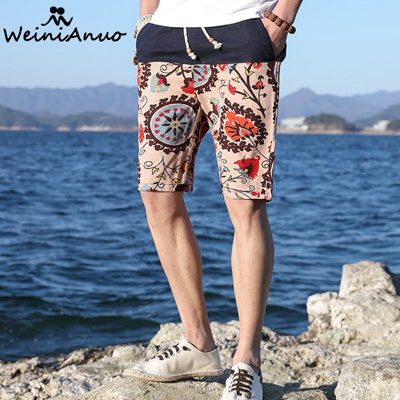 WEINIANUO Hawaiian Style Men Casual Beach Shorts 2018 Summer New Loose Waist Thin Flowers Design Shorts Fashion Casual Men 313