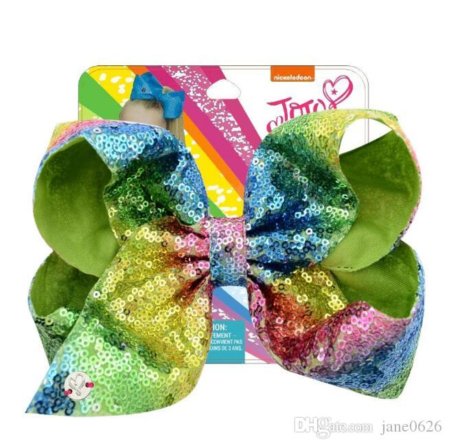 New JOJO Flip Chip Sequent 8inch Big Bow Hairpin Girl Hair Ornament Headwear The Best Gift for Girls