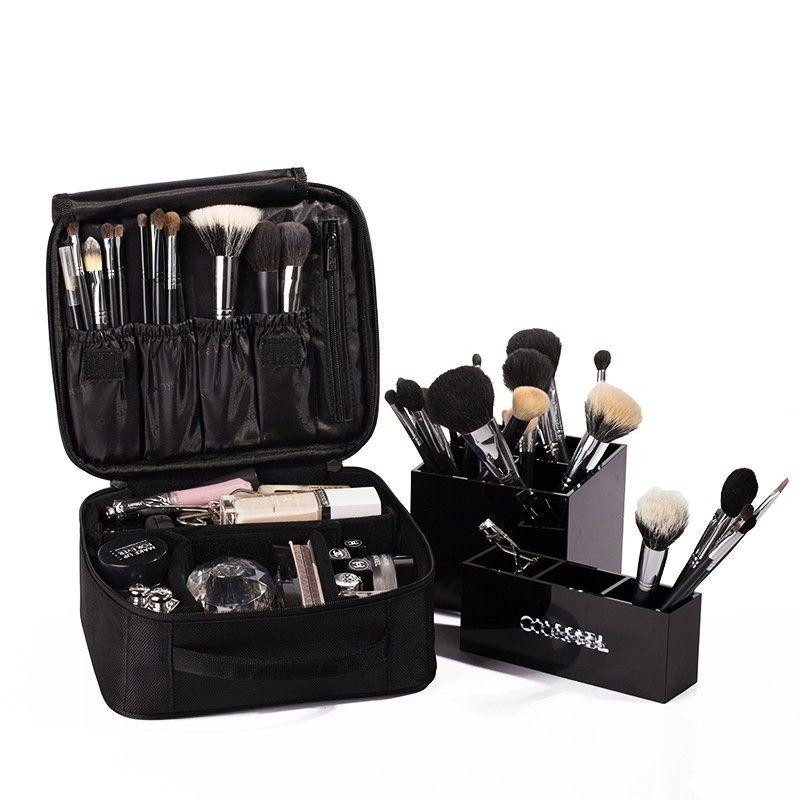 حقيبة مستحضرات التجميل عالية الجودة السفر التجميل المنظم زيبر المحمولة حقيبة ماكياج المصممين جذع حقائب التجميل