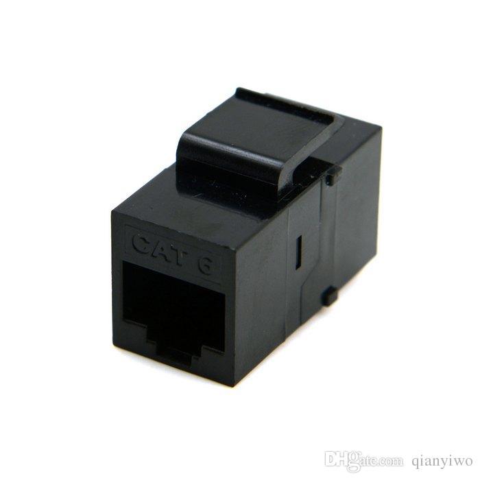 UTP CAT6 Acoplador Keystone RJ45 Adaptador de extensión de red Ethernet hembra a hembra Módulo de paso sin blindaje Chapado en oro Negro
