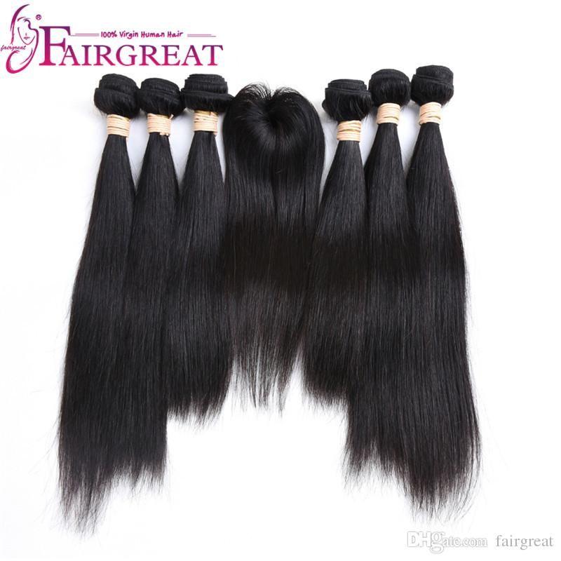 Fairgreat 2018 Bronner Bros Hair Show Solo 6 Bundles Remy Bundle di capelli umani con chiusura in pizzo Estensioni dei capelli umani dritti brasiliani