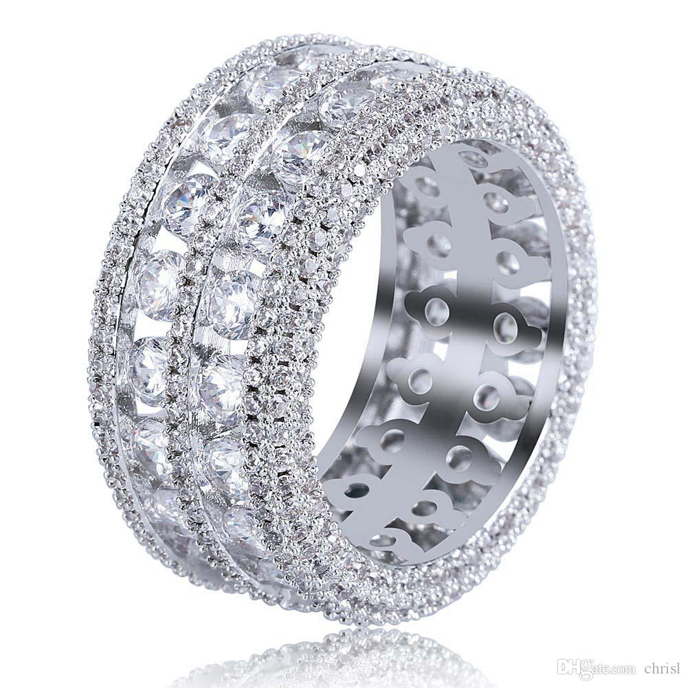 Hip Hop New Fashion Iced Out Bling Ring Micro Pave CZ Stone 2 Row Bigger Width Rings Charm For Men Women