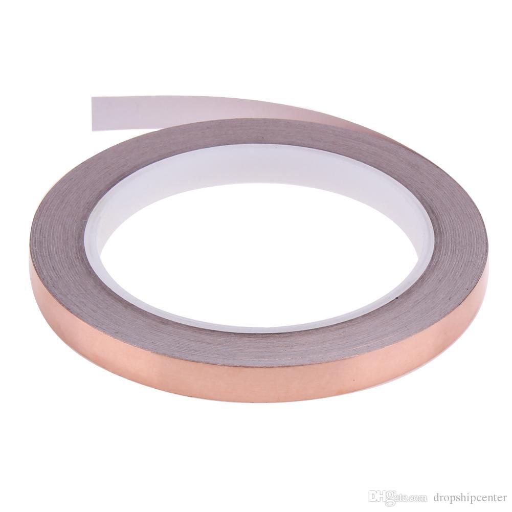 20m 10mm Copper Foil Stained Glass Foil Tape for EMI Shielding Slug Repellent Electrical Repair Waterproof Single Conductive