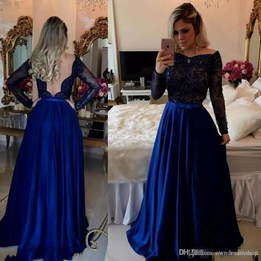 f7073326d025 Royal Blue Prom Dresses Long Sleeve Beaded Affordable Evening Dresses Uk  Sexy Deep V Back Bow