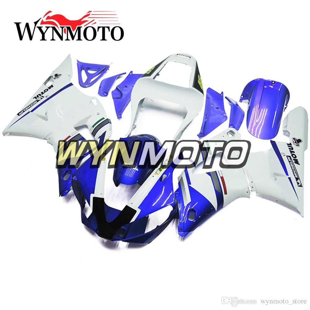Full Panels For Yamaha YZF1000 R1 2000 2001 00 01 ABS Plastics Injection Motorbike Fairings White Blue Cover YZF R1 00 01 Body Frames