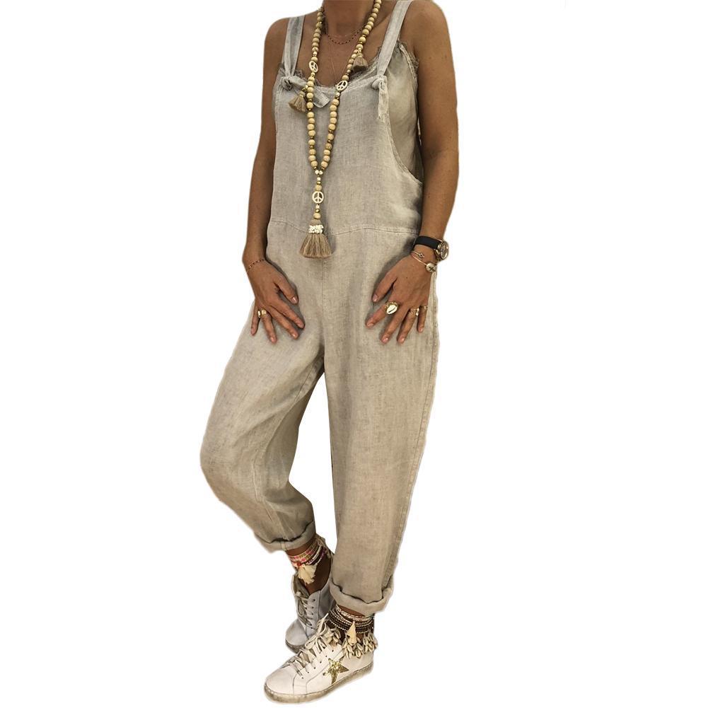 Свободные случайные большой размер белье хлопок цельный нагрудник брюки женская мода BF стиль комбинезоны высокой талией узкие брюки