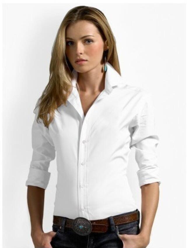 Новый высокое качество осень блузка женщины хлопок рубашки топы мода повседневная с длинным рукавом отложным воротником блузки