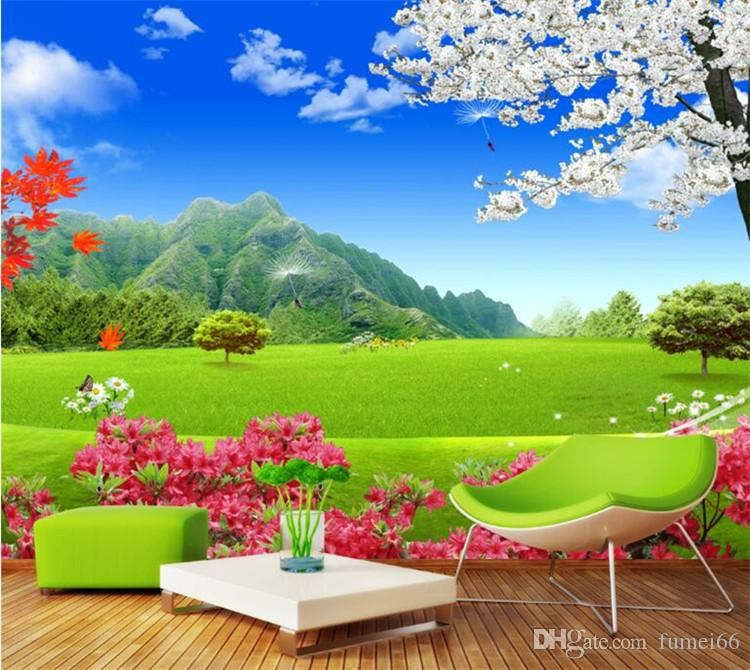 Custom Mural Wallpaper For Walls 3d Nature Landscape Green Grassland Flower Background Wall Painting Modern Wallpaper Livingroom High Res Wallpaper Free High Res Wallpapers Free From Fumei66 30 6 Dhgate Com