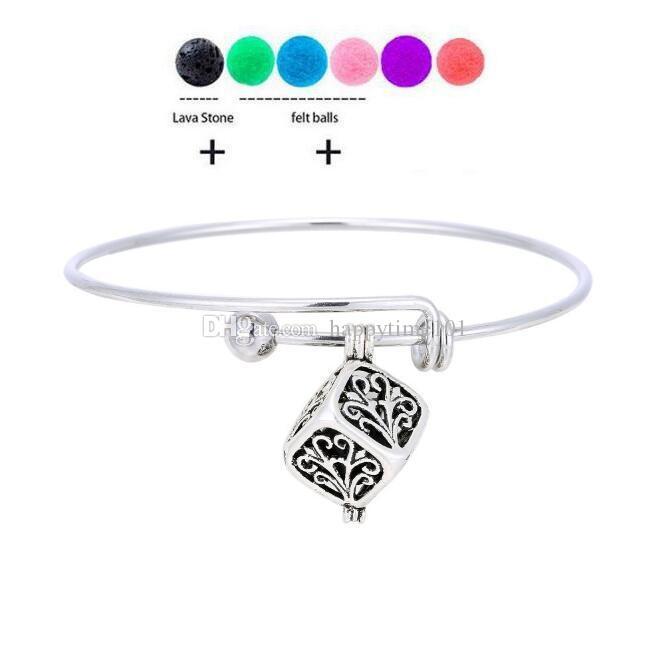 Nuovo lava-rock di cuore / goccia / Pendente di Apple fascino braccialetti di DIY Aromaterapia olio essenziale diffusore Bangle Bracciali lava nera naturali